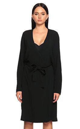 Joseph Beli Kuşaklı Kruvaze Bağlamalı Siyah Elbise