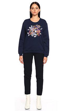 Carven İşleme Detaylı Lacivert Sweatshirt