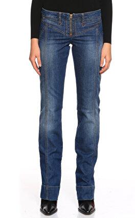 Just Cavalli Düğmesiz Dikiş Model Detaylı Mavi Jean Pantolon