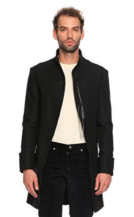 Hatice Gökçe Dik Yaka Zincir Detaylı Siyah Ceket