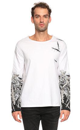 St. Nian Baskı Desen Uzun Kollu Beyaz T-Shirt