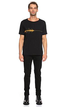 St. Nian Baskı Desen Siyah T-Shirt