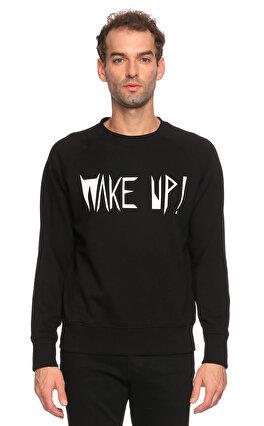St. Nian Baskı Desen Siyah Sweatshirt