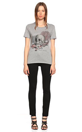Alexander McQueen Kuru Kafa Desenli Gri T-Shirt