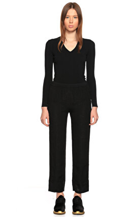 Costume National Beli Lastikli Siyah Pantolon