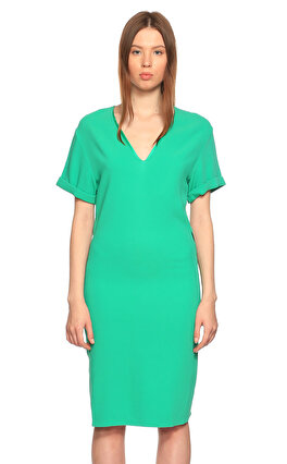 Costume National V Yaka Kısa Kol Yeşil Elbise