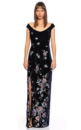 Marchesa Notte Çiçek İşlemeli Uzun Lacivert Gece Elbisesi