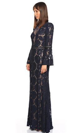 Tadashi İspanyol Kol Dantel İşlemeli Lacivert Uzun Gece Elbisesi