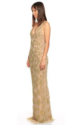 Parker Black İşleme Detaylı Uzun Ten Rengi Gece Elbisesi