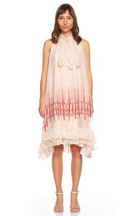 Thomas Wylde Fular Yaka Kolsuz Beyaz Kırmızı Elbise