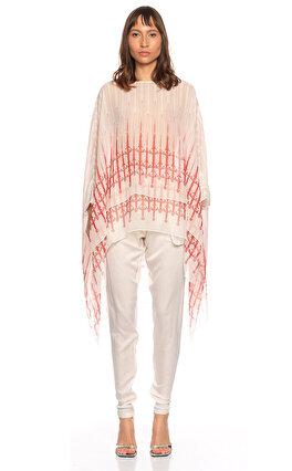 Thomas Wylde Desenli Yarasa Kesim Kırmızı Beyaz Bluz
