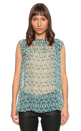 Thomas Wylde Desenli Kolsuz Yeşil Bluz