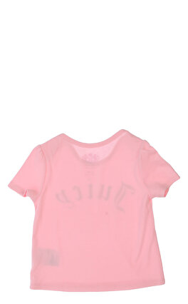 Juicy Couture Baskılı Zarf Yaka Pembe T-Shirt