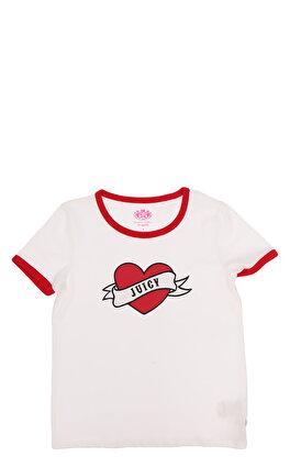 Juicy Couture Baskılı Beyaz Kırmızı T-Shirt