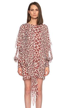 Thomas Wylde Desenli Mini Kırmızı Elbise