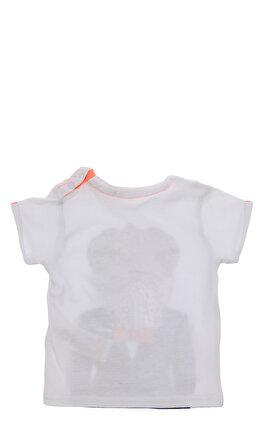 Billybandit Baskılı Çıtçıtlı Yaka Beyaz T-Shirt