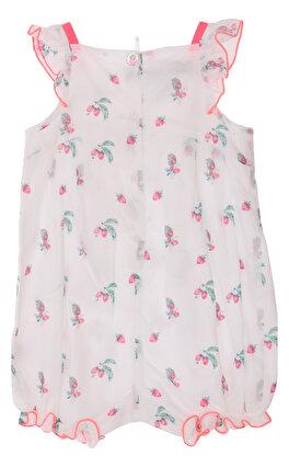 Baby Dior Çiçek Desenli Kısa Beyaz Pembe Tulum