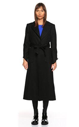 Quiluxe Belden Bağlamalı Siyah Palto