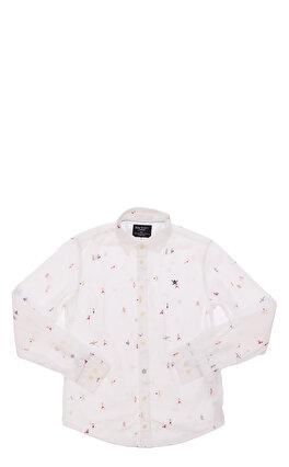 Hackett Baskılı Beyaz Gömlek