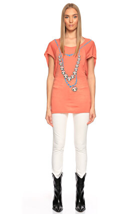 Fornarina Jeans Yarasa Kollu Baskılı Yavruağzı T-Shirt