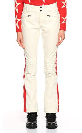 Perfect Moment Yıldız Desenli Paçası Fermuarlı Beyaz Kırmızı Kayak Pantolonu