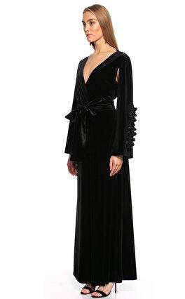 Zeynep Erdogan Kadife Yarasa Kollu Uzun Siyah Gece Elbisesi