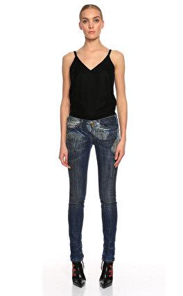 Current Elliot Yama Detaylı Skinny Mavi Jean Pantolon