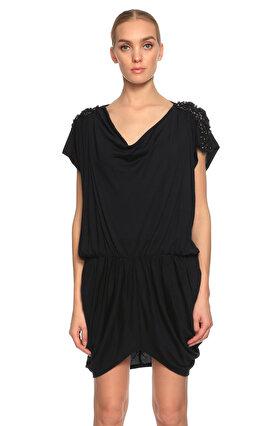 Catherine Malandrino Degaje Yakalı İşleme Detaylı Mini Siyah Elbise