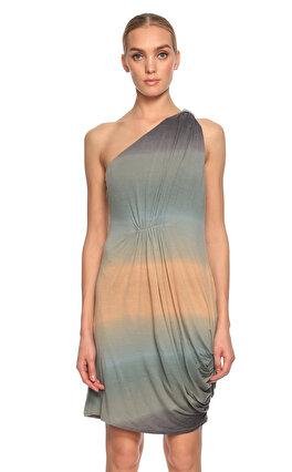 Catherine Malandrino Büzgülü Tek Kollu Renkli Elbise