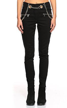 Miaou Kemer Detaylı Siyah Pantolon