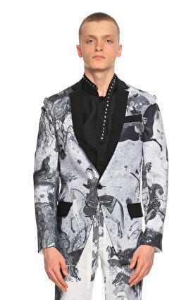 Hatice Gökçe Baskılı Siyah Beyaz Ceket