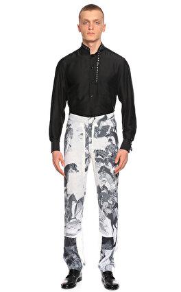 Hatice Gökçe Baskılı Siyah Beyaz Pantolon
