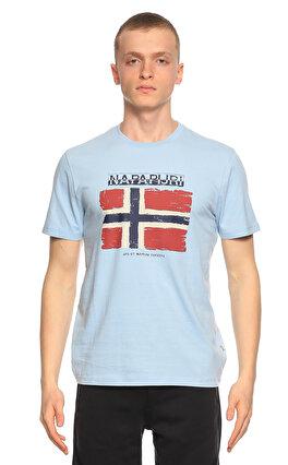 Napapijri Baskı Desen Mavi T-Shirt
