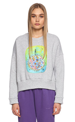 Be Mine Desenli Gri Sweatshirt