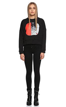 Be Mine Desenli Dik Yakalı Siyah Sweatshirt