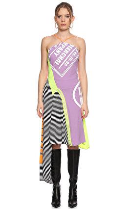 DB Deniz Berdan Çapraz Yakalı Renkli Elbise