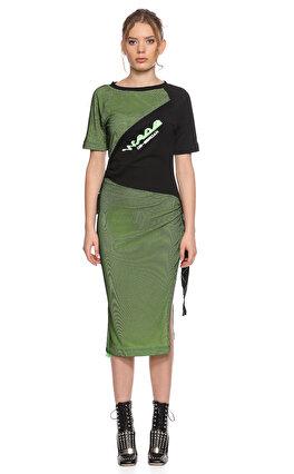 DB Deniz Berdan Neon File Detaylı Yeşil Elbise