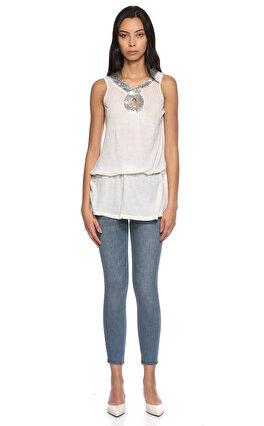 Ltd Jeans Kolsuz Beyaz Bluz