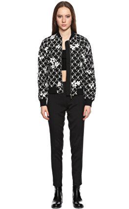 MICHAEL Michael Kors Çiçek İşlemeli Siyah Beyaz Ceket