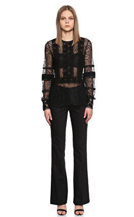 Yigal Azrouel Dantel İşlemeli Siyah Bluz