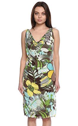 M.Missoni Çiçek Desenli Diz Altı Renkli Elbise