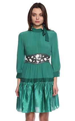 M.Missoni Fular Yakalı Diz Üstü Yeşil Elbise