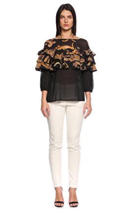 Just Cavalli Fırfırlı Siyah Bluz