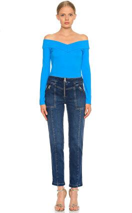 Karen Millen Kayık Yaka Mavi Bluz