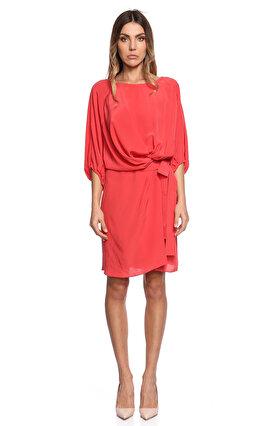 Gianfranco Ferre Kayık Yakalı Nar Çiçeği Elbise