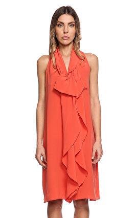 Gianfranco Ferre Fular Yakalı Kolsuz Nar Çiçeği Elbise