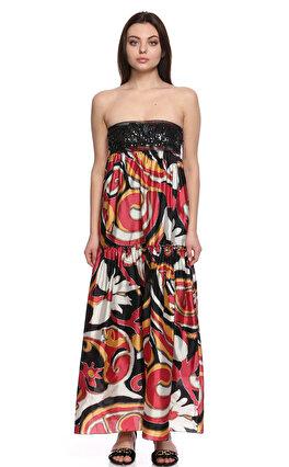 M.Missoni Karma Desenli Ve İşleme Detaylı Straplez Renkli Uzun Elbise