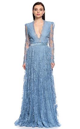 Alexander McQueen Dantel İşlemeli Mavi Uzun Gece Elbisesi