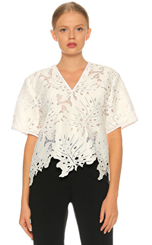 MSGM-Msgm Dantel Detaylı Beyaz  Bluz