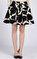 DKNY Desenli Mini Balon Siyah Beyaz Etek #1